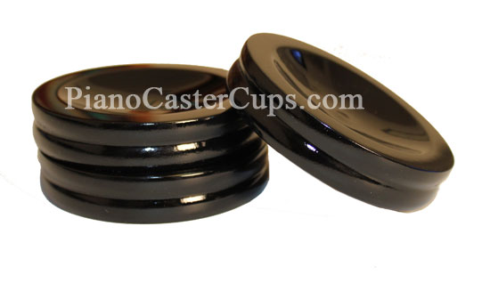 high polish black caster cups for upright piano